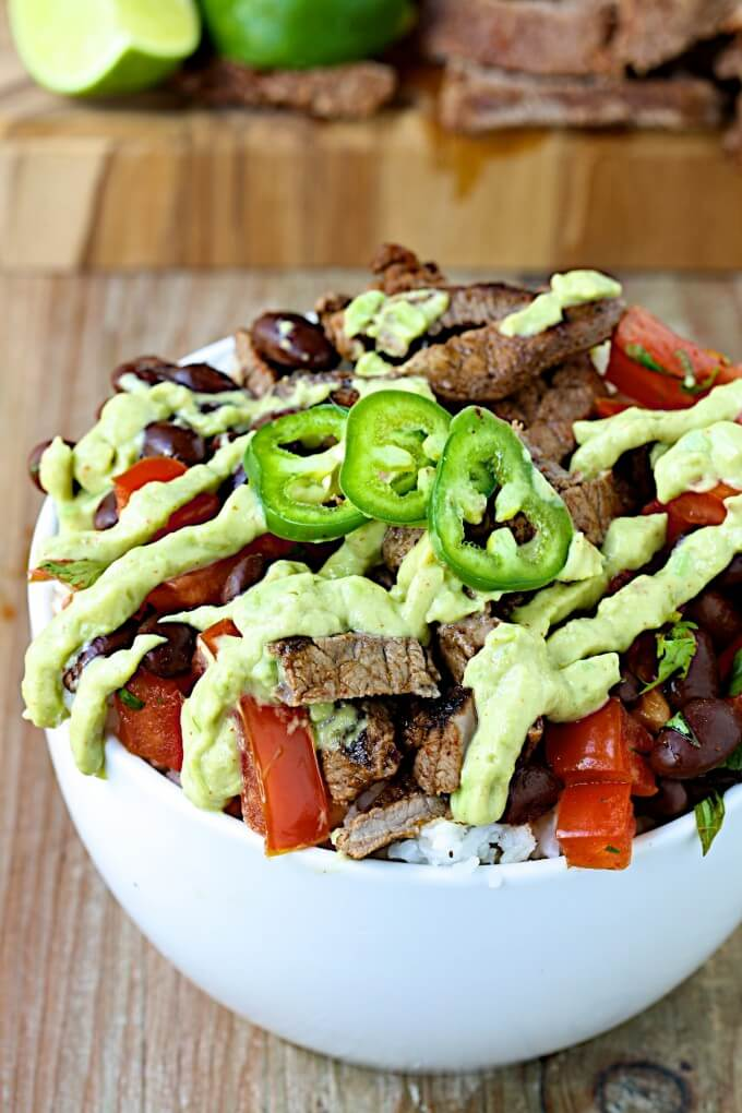 8. Chili-Lime Beef and Black Bean Power Bowls with Avocado Crema