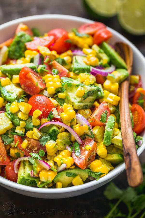 8.Corn Tomato Avocado Salad