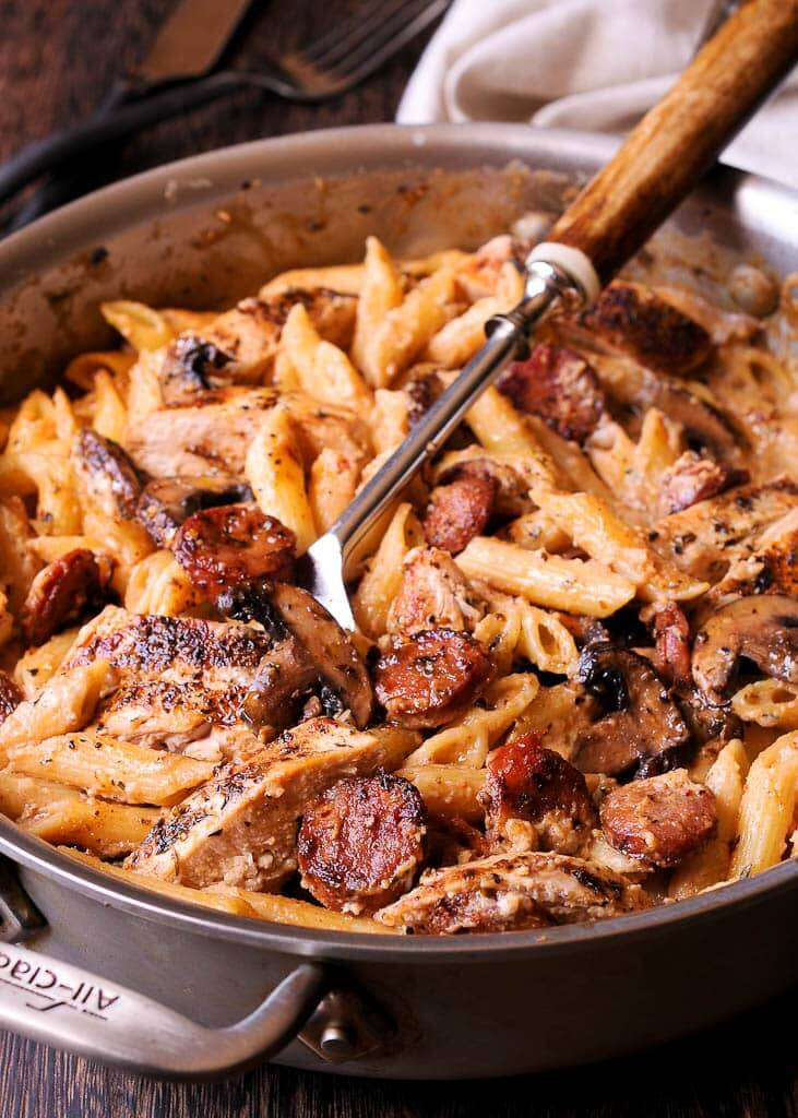 8. Creamy Cajun Chicken and Sausage Pasta