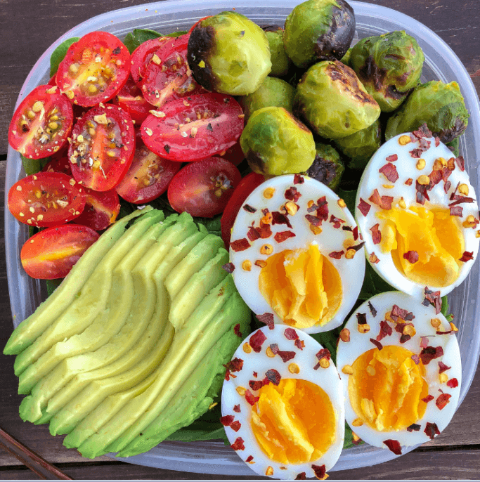8. Egg, Brussel Sprout, Tomato and Avocado Breakfast Bowl