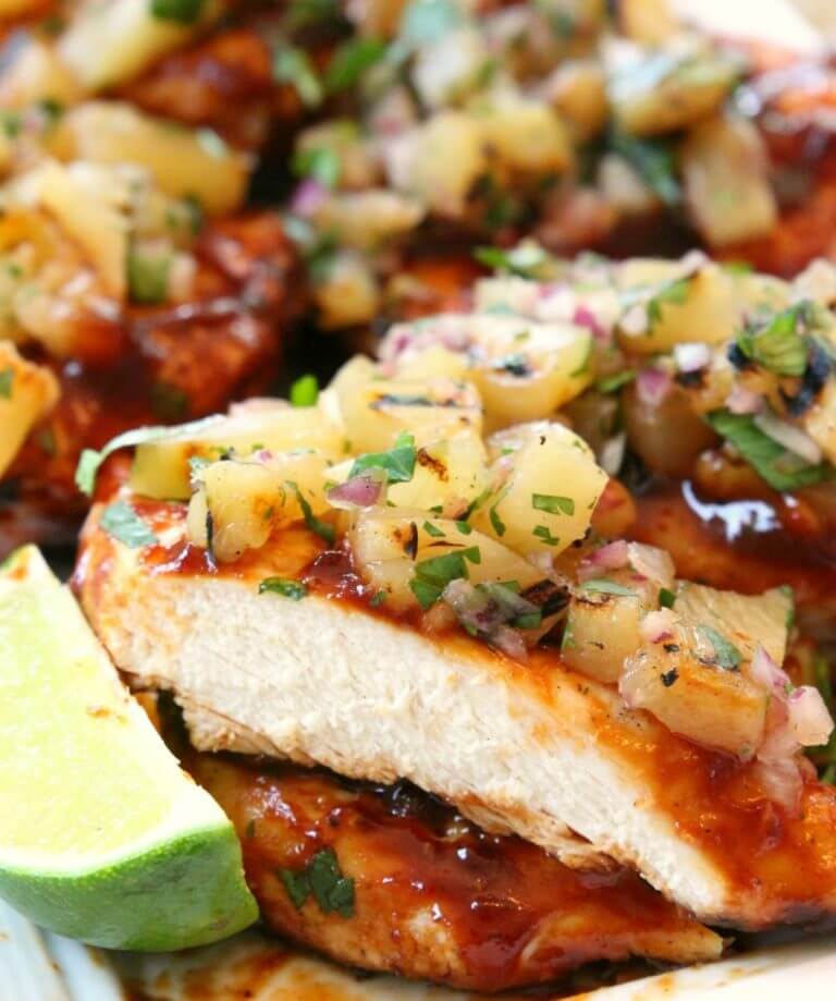 8. Grilled BBQ Chicken with Pineapple Salsa