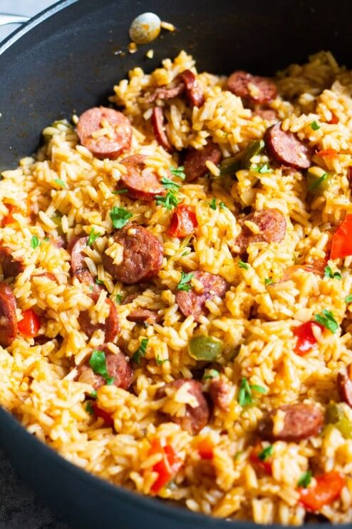 8. One Pot Sausage Peppers with Rice