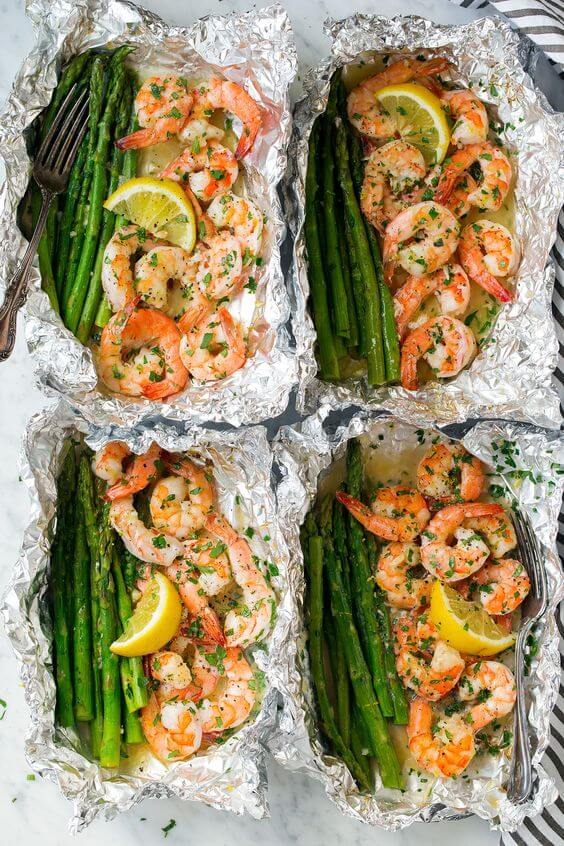 8. Shrimp and Asparagus Foil Packs with Garlic Lemon Butter Sauce