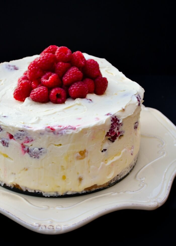 9. Beep Lemon Curd and Raspberry No-Bake Cheesecake
