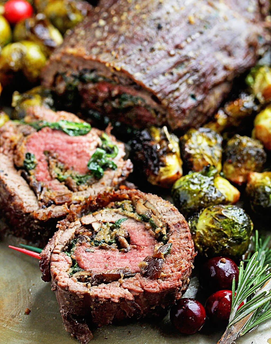 9.Mushroom and Spinach Stuffed Flank Steak