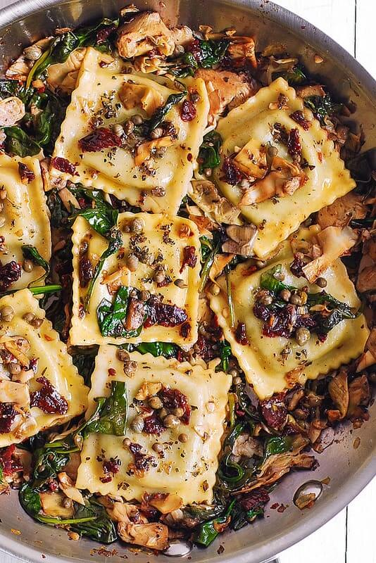 #1 Italian Ravioli with Spinach, Artichokes, Capers, Sun-Dried Tomatoes