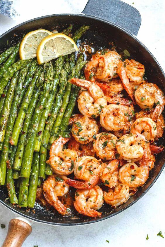 1. Lemon Garlic Butter Shrimp with Asparagus