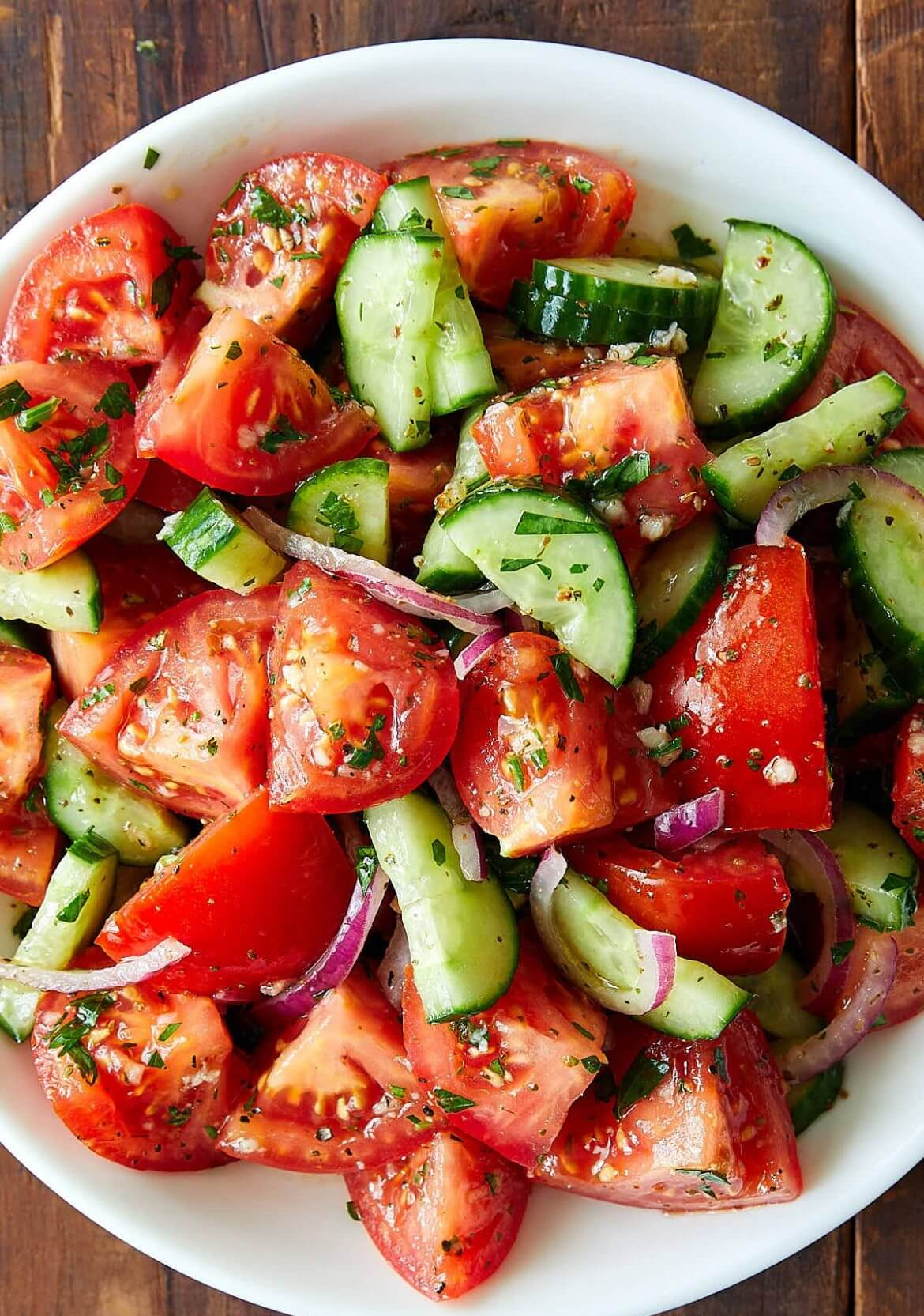 1. Rustic Cucumber and Tomato Salad