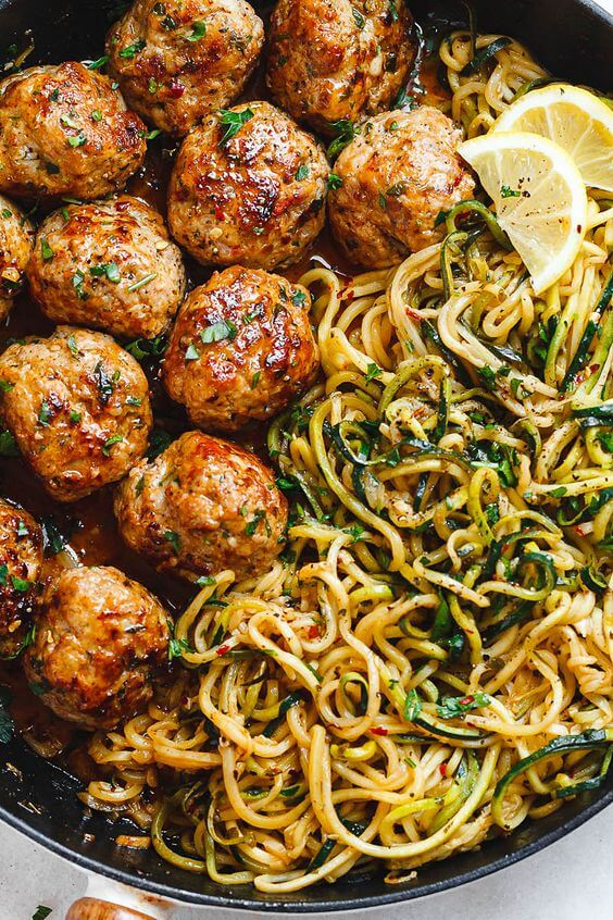 #10 Garlic Butter Meatballs with Lemon Zucchini Noodles