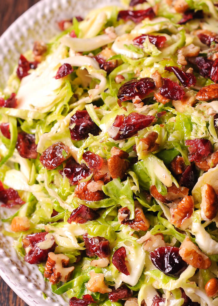 #10 Honey Mustard Brussel Sprout Salad with Cranberries and Pecan