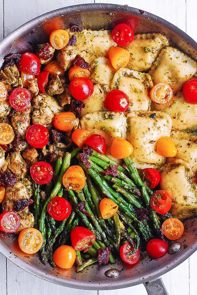 #10 Pesto Chicken Ravioli and Vegetables