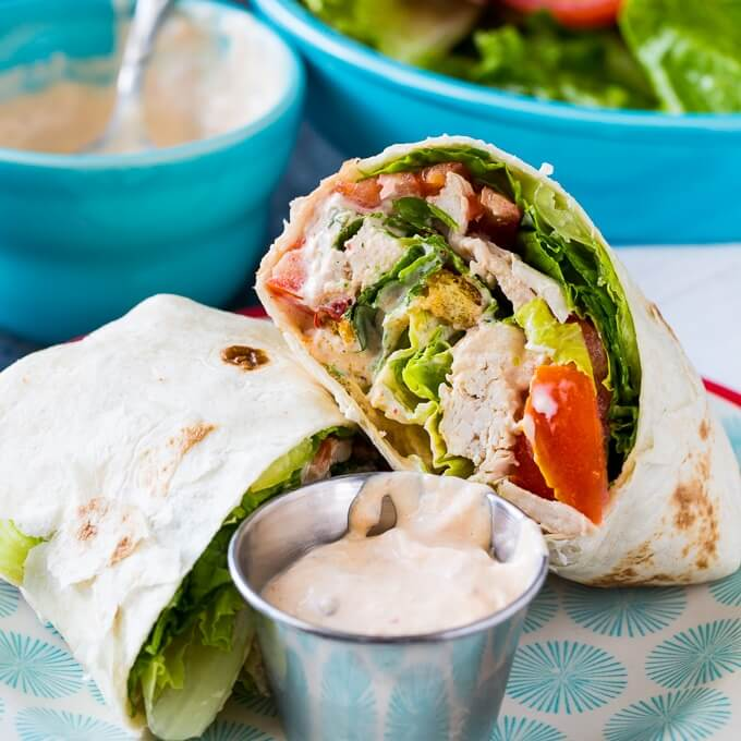 #12 Spicy Chicken Caesar Salad Wraps