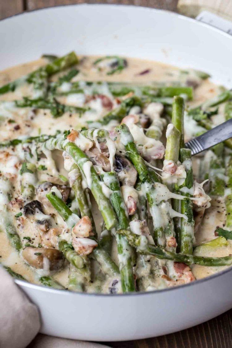 12. Asparagus in Creamy Mushroom Sauce-min