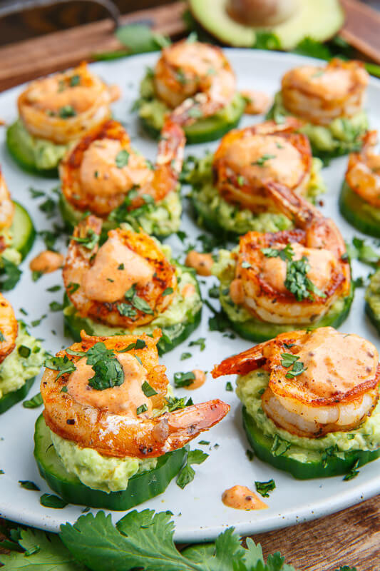 12. Blackened Shrimp Avocado Cucumber Bites