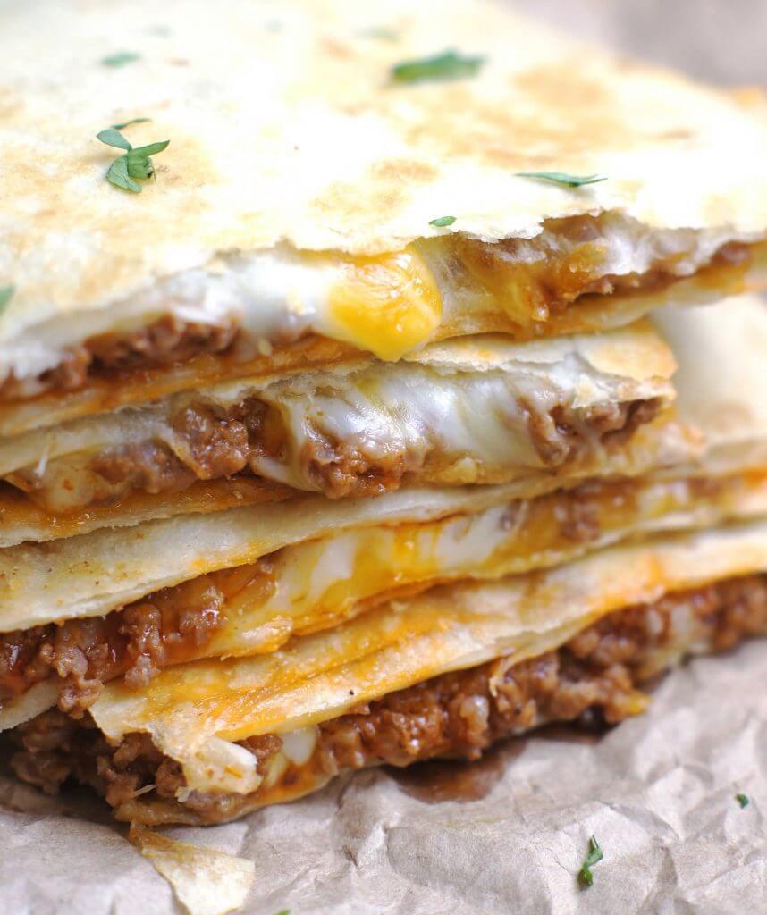 12. Cheesy Ground Beef Quesadillas