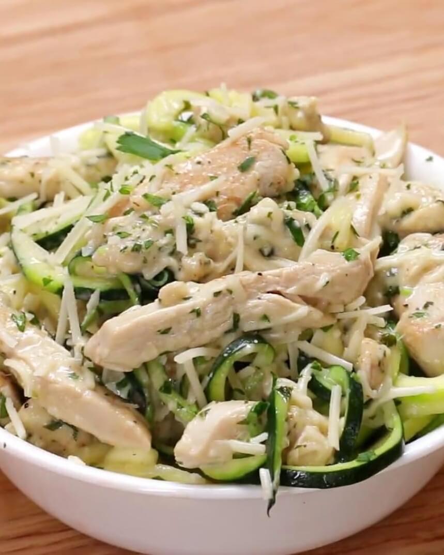 12. Zucchini Chicken Noodle Alfredo