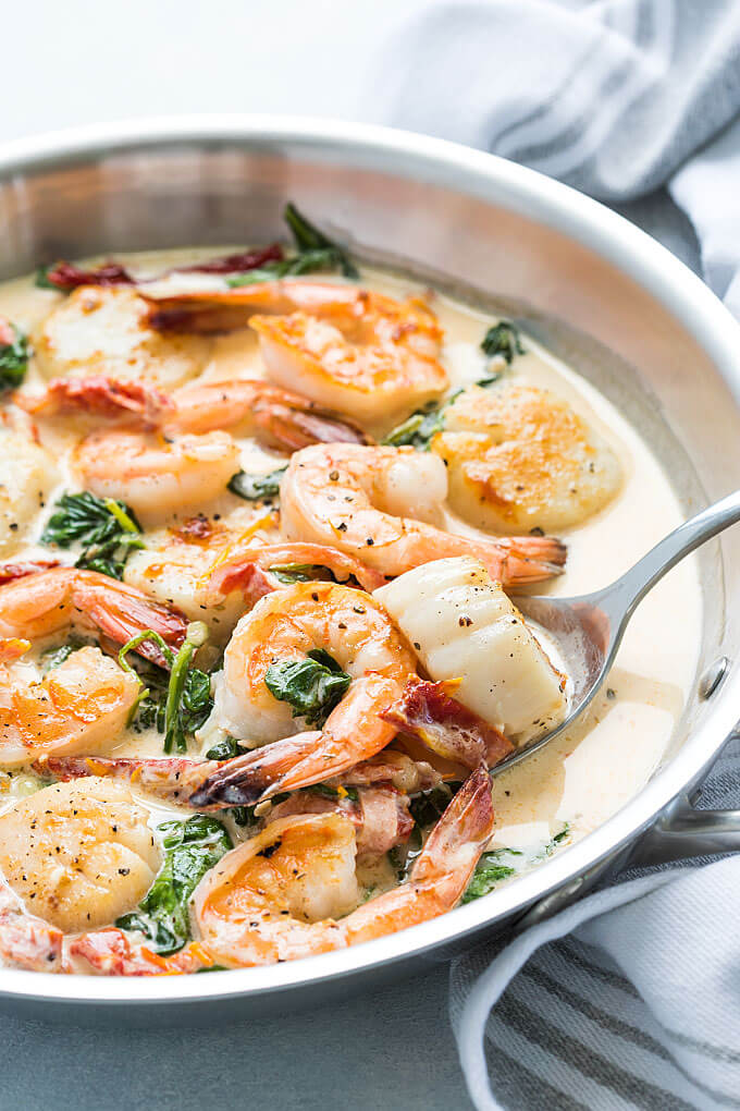 #13 Creamy Tuscan Shrimp and Scallops