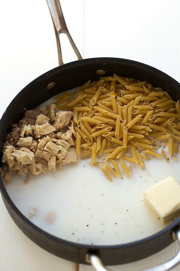 #13 One Skillet Cheesy Tuna Pasta