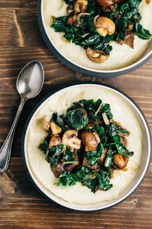 13. Cauliflower Puree with Sautéed Mushrooms