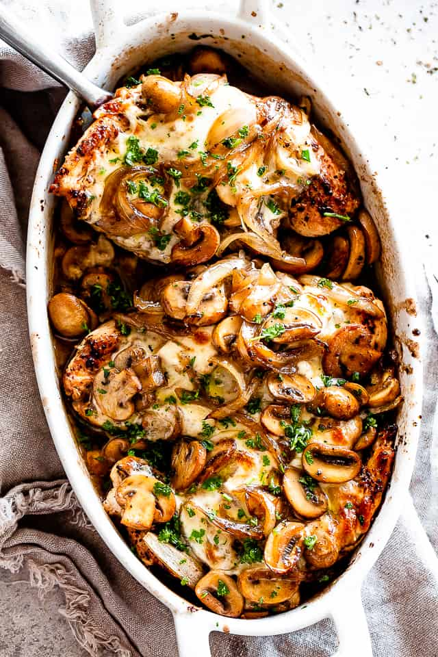 13. Cheesy Baked Chicken with Mushrooms