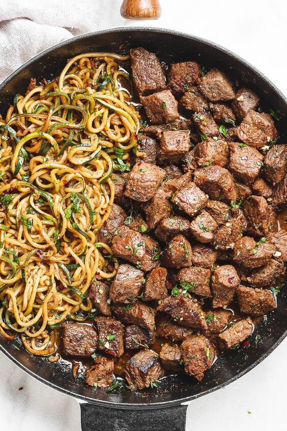13. Garlic butter Steak Bites with Lemon Zucchini Noodles