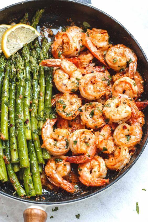 #14 Lemon Garlic Butter Shrimp with Asparagus  rv