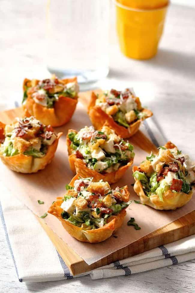 14. Caesar Salad Wonton Cups