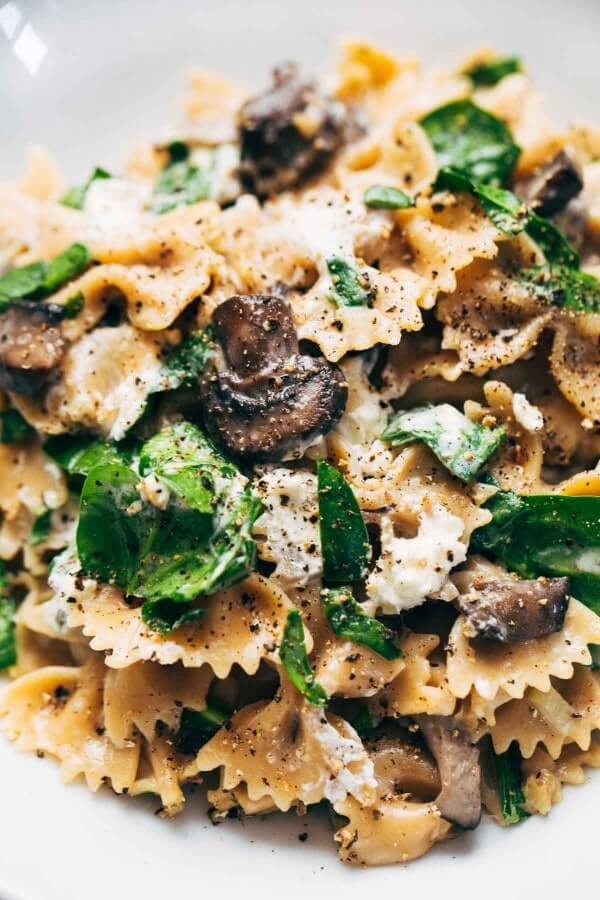 14. Mushroom Pasta with Goat Cheese