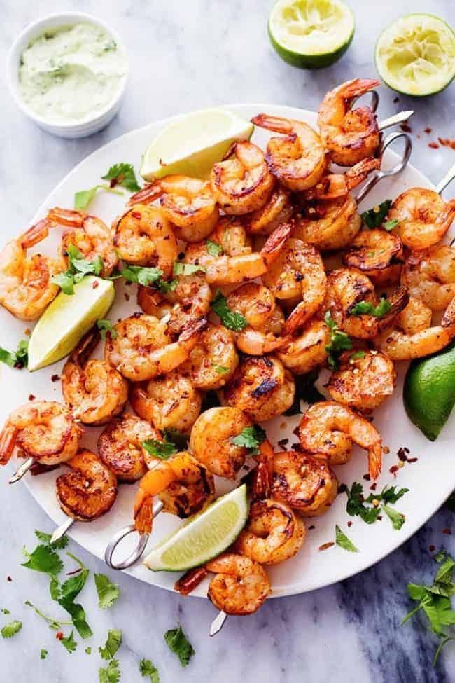 #15 Grilled Spicy Lime Shrimp with Creamy Avocado Cilantro Sauce
