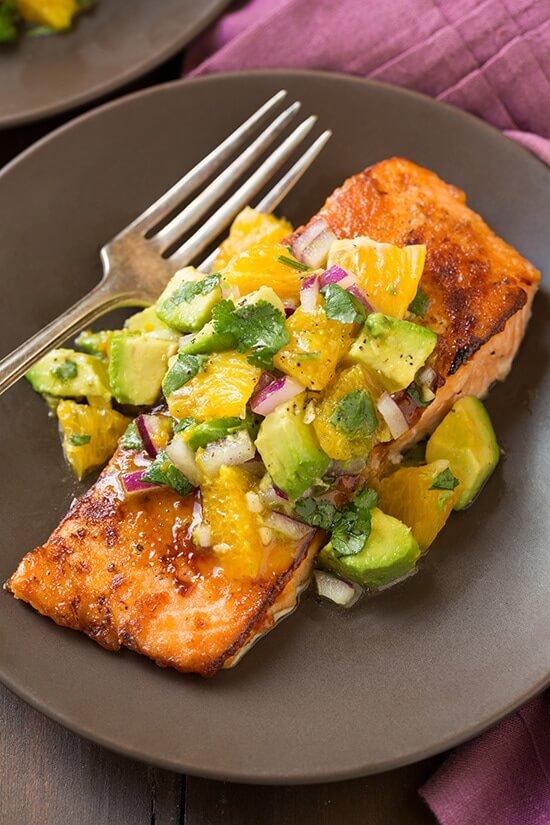 #15 Honey Glazed Salmon with Citrus Avocado