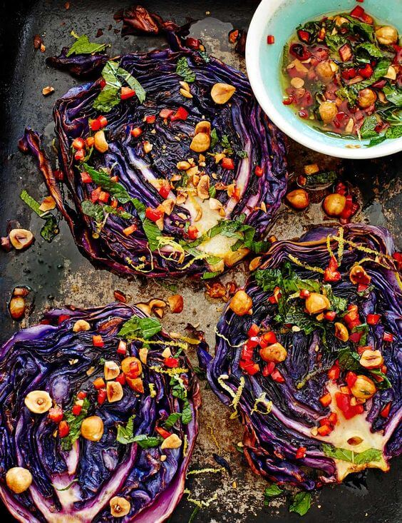 #15 Roasted Cabbage Steaks With Hazelnut Dressing