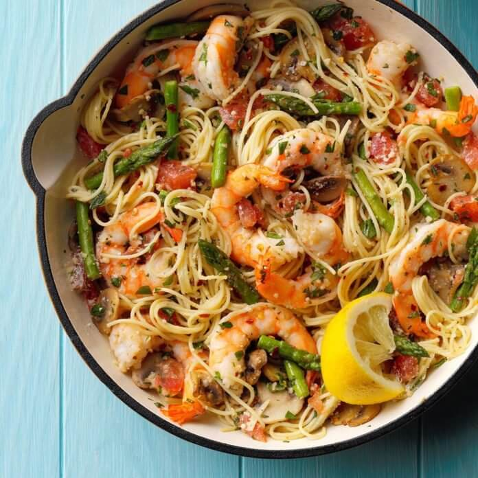 15. Asparagus and Shrimp with Angel Hair