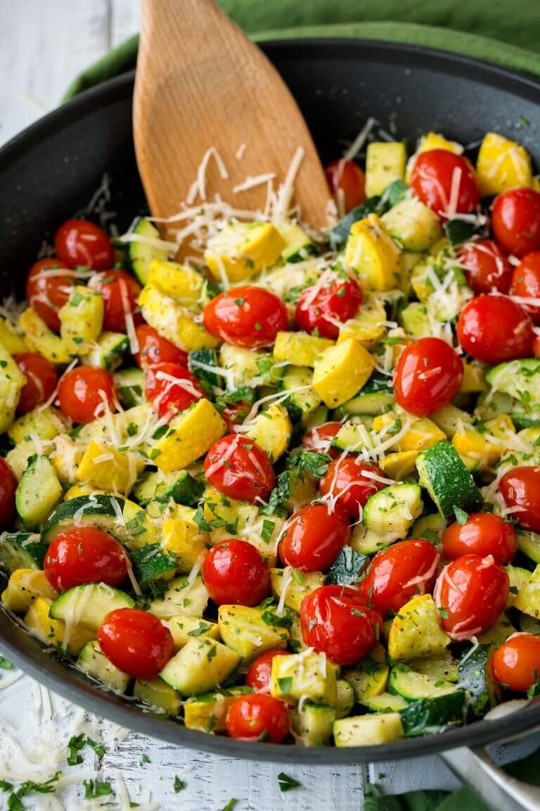 15. Skillet Garlic-Parmesan Zucchini Squash and Tomatoesv