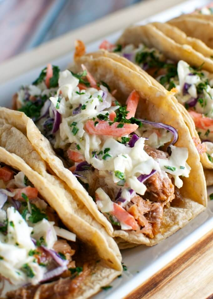 16 Barbecue Pork Tacos with Honey Mustard Slaw