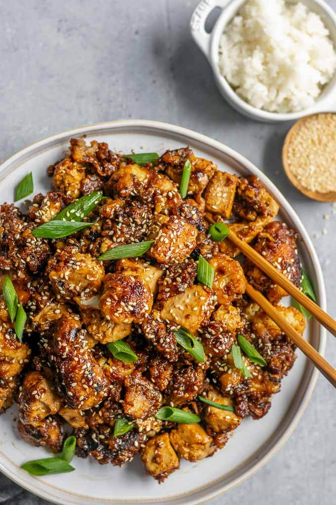 #16 Sticky Teriyaki Tofu and Cauliflower