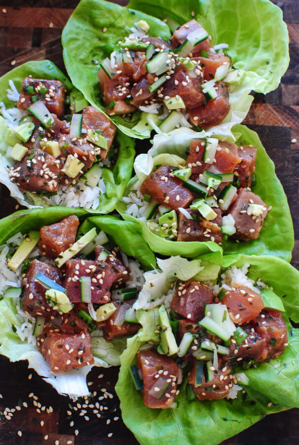 #17 Spicy Tuna Poke Lettuce Wraps