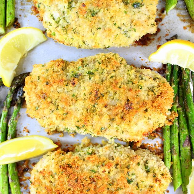 18. Parmesan Pork Chops Recipe with Asparagus