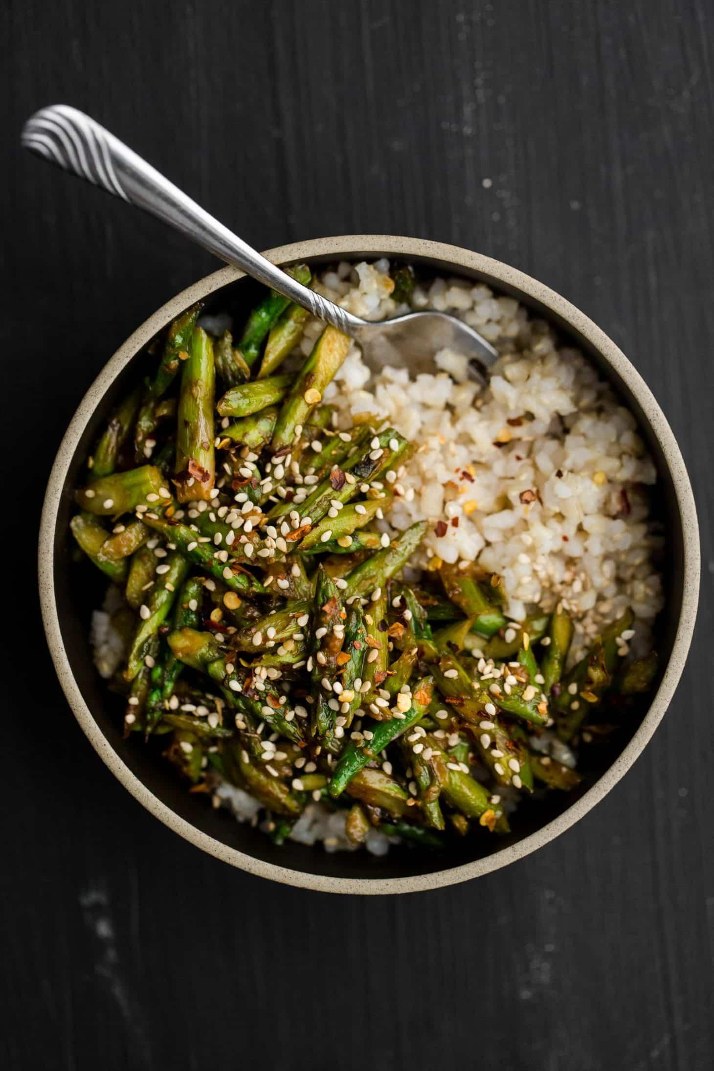 19. Asparagus Stir-Fry with Sesame-Miso Sauce-min