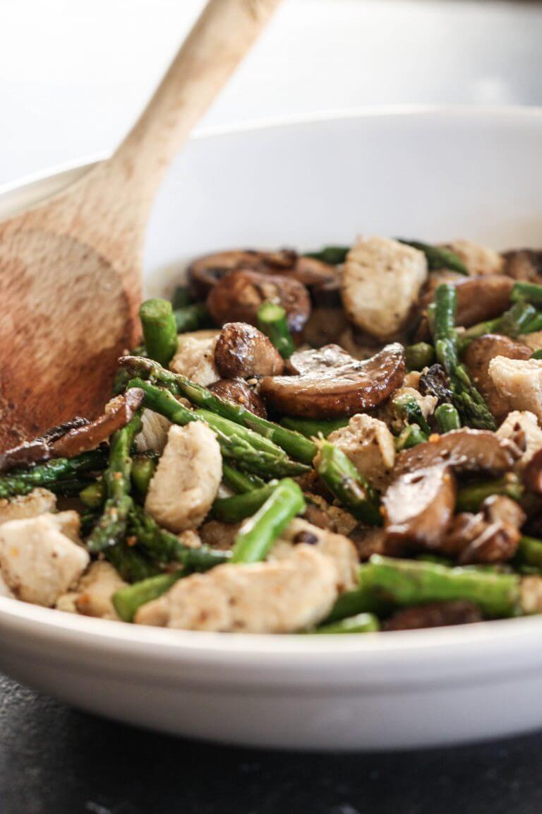 19. Mushroom Asparagus Chicken Stir-Fry