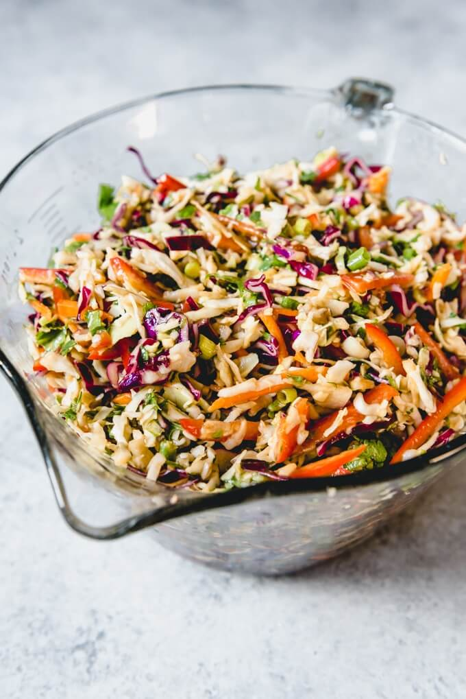 2 Asian Slaw with Ginger Peanut Dressing