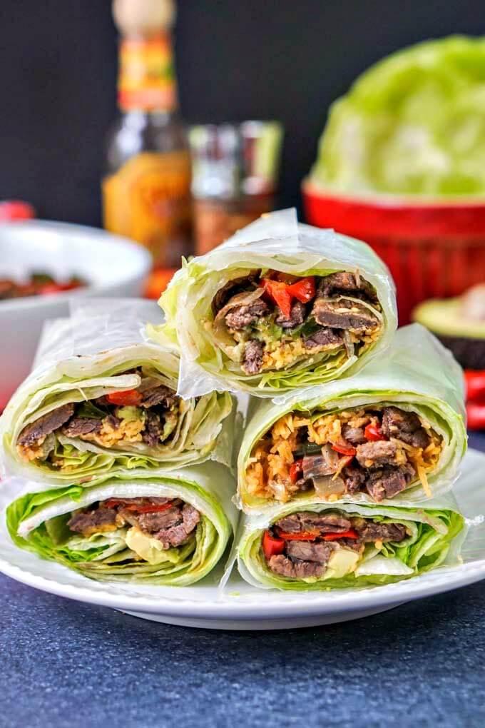 2 Low Carb Fajita Burrito Lettuce Wrap