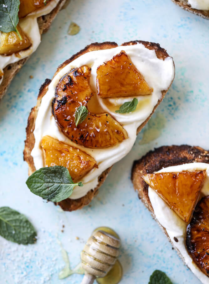 2 Roasted Pineapple Whipped Ricotta Toasts