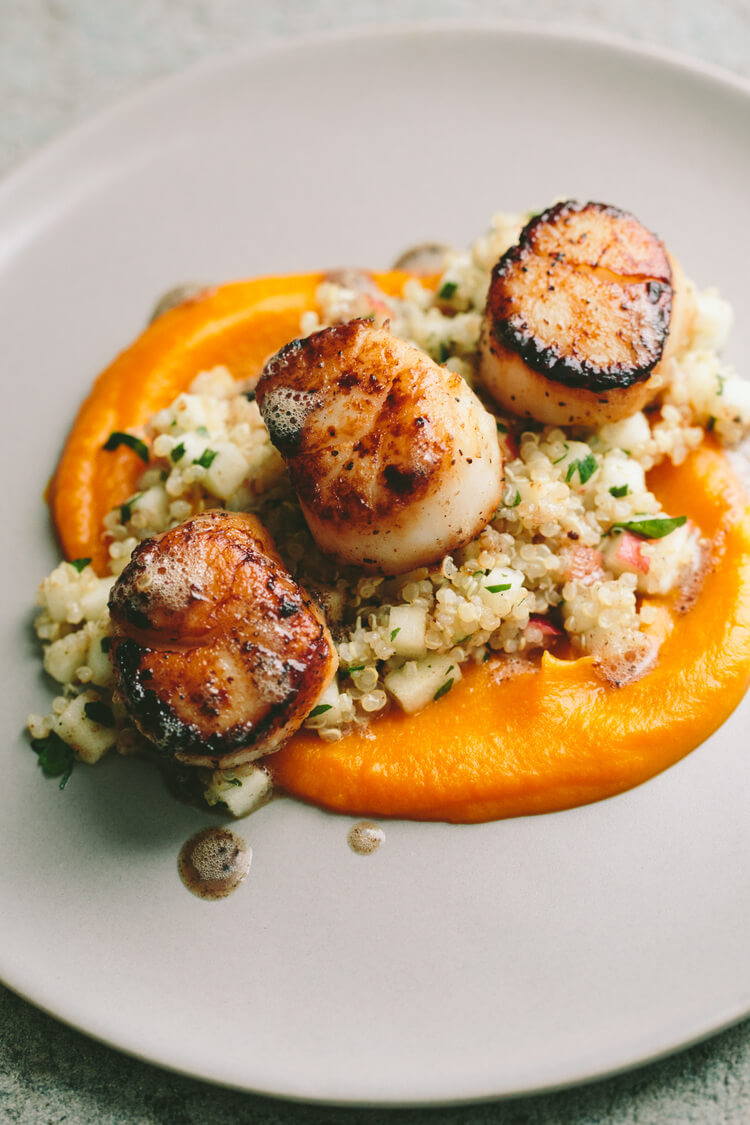 #2 Seared Scallops with Quinoa and Apple Salad  and Butternut Squash Puree