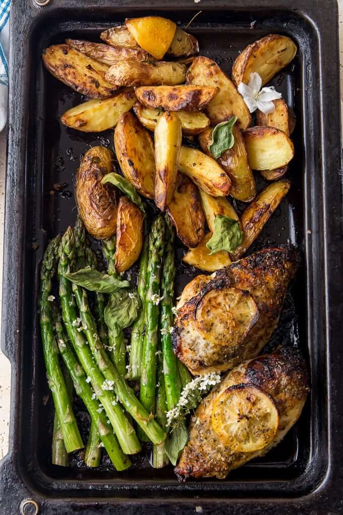 2. One Pan Lemon Roast Chicken and Asparagus