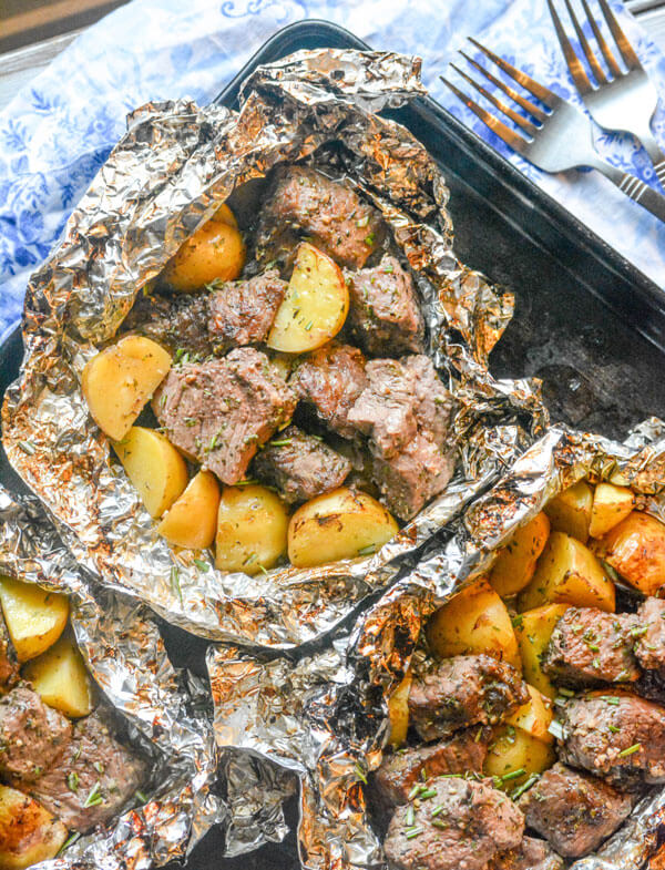 #20 Grilled Butter Garlic Steak & Potato Foil Pack