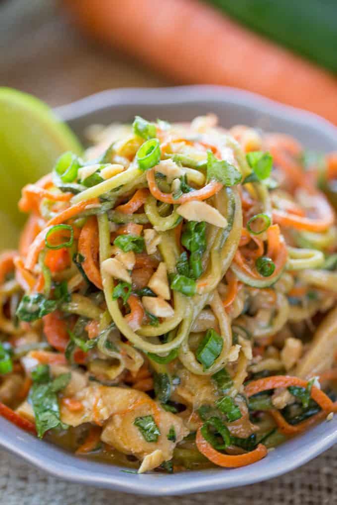20. Healthy Thai Peanut Chicken Zucchini Noodles