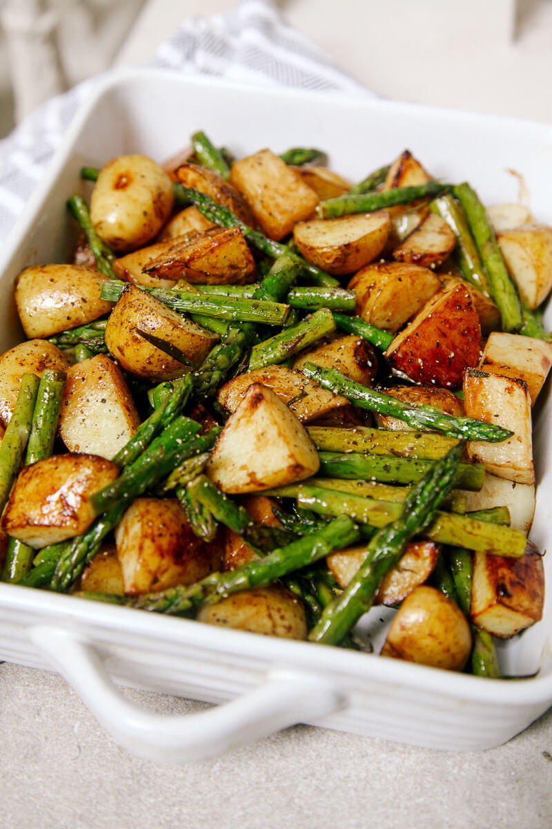 20. Roasted Garlic Potatoes, Asparagus, & Sausage