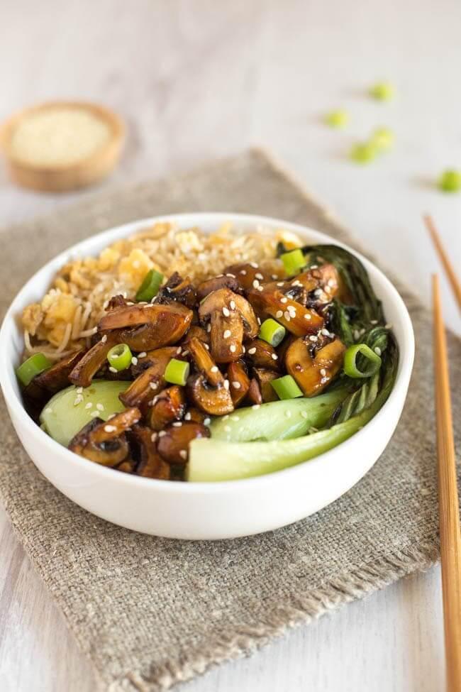20. Teriyaki Mushroom Egg Fried Rice Bowls