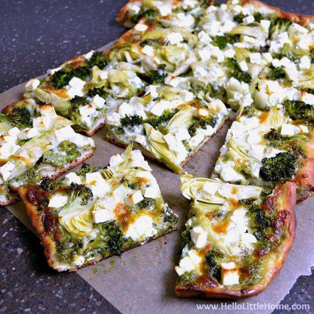 21 Green Pizza with Pesto Feta Artichokes and Broccoli