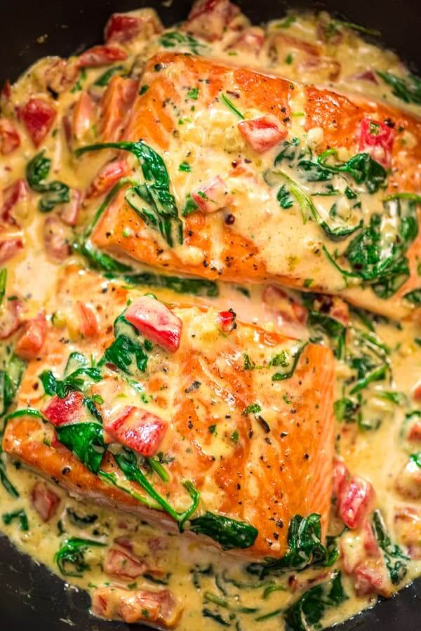 #21 Salmon in Roasted Pepper Sauce